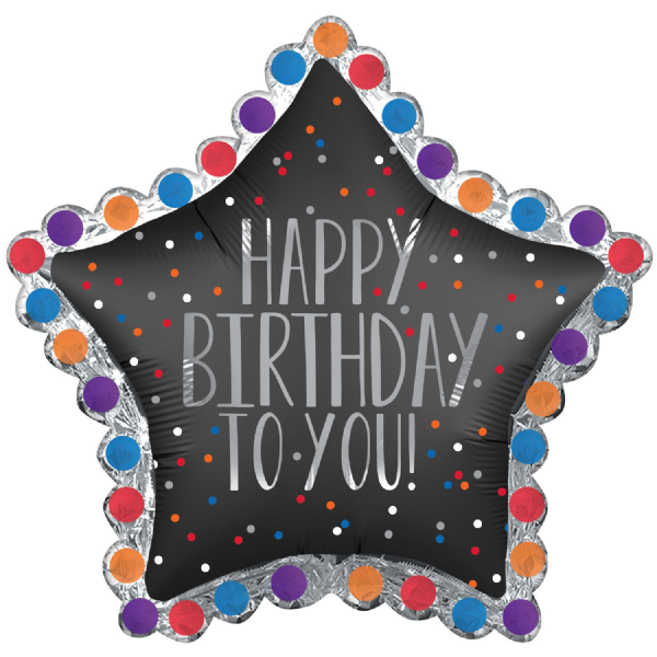 Happy Birthday To You Satin Star SuperShape XL Foil Balloon